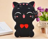 caja del teléfono del gato de goma al por mayor-Cute Silicon 3D Cat Bow Case para iphone 5S Case para iphone 5 SE 6S Plus Cartoon Lovely Rubber Phone Case Contraportada