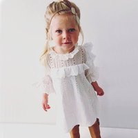 Wholesale Toddler Summer White Dress - Everweekend Girls Floral Lace Ruffles White Dress Spring Summer Cute Toddler Bay Summer Dresses with Flare Sleeve