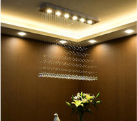 Wholesale Cristal Ceiling - LED cristal chandeliers lighting ceiling LED Chandeliers Lamps Rectangle Indoor Hanging Decoration lighting Fixtures for Hotel Mall
