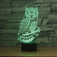 Wholesale room painting colors resale online - 3D Night Light Colors Changing Table Desk Deco Lamp Bedroom Children Room Decorative Night Light owl