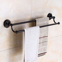 Wholesale Double Brass Towel Bar - Wall Mounted Towel Holder Double Towel Bars Bathroom Accessories Brass Bathroom Black Finish Towel Rack Free Shipping