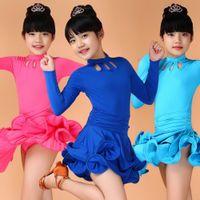Wholesale latin ballroom costume girls - Girl Pink Black Long Sleeves Latin Dancewear Standard Kids Latin Competition dance Dress Children Salsa Ballroom costumes