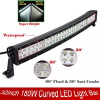 Wholesale Ford Wagon - 32 inch 180W Curved Spot Flood Combo Beam Light Bar Work Light for 4WD Off-road Vehicles Truck Tractor SUV UTV Wagon Jeep 4X4 Ford 12V 24V