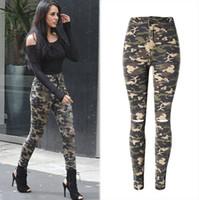 yüksek belli zayıflama kalem kot pantolon toptan satış-Yeni Moda Sıska Yırtık Kot Kadınlar Yüksek Waisted Kamuflaj Kot Streç Kalem Jean Ince Femme Denim Camo Pantolon