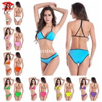 Wholesale Swimsuit Usa Color - Hotsale Swimwear swimsuit swimsuits for women Sexy Bikini Candy color black piping hot bikini two piece 2017 quality European USA 8 colors