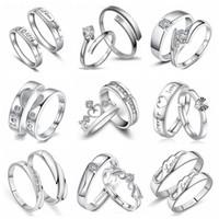 pareja anillo de plata de ley par al por mayor-925 anillo de compromiso plateado de plata esterlina de los anillos de bodas de los pares con la joyería de la promesa del encanto de cristal de CZ 2pcs / Pair 27 diseños de la venda de boda