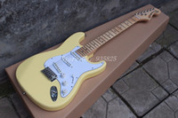 Wholesale Vintage Guitar Left Handed - Vintage yellow cream Yngwie Malmsteen Scalloped maple fretboard Big Head ST 6 string electric guitar guitarra can customized