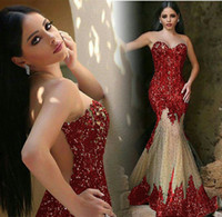 Wholesale Spandex Two Piece Dress - Crystal New Mermaid Evening Dresses Sheer Neck Sleeveless With Sheer Back Sequined Mermaid Tulle Beads Elegant Prom Party Formal Gowns