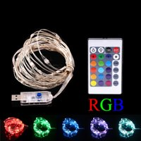 USB LED Fairy String Lights avec minuterie Télécommande Dimmable 16ft 50 LED 33FT 100LEDs Multi Color Copper Wire String festival de Noël