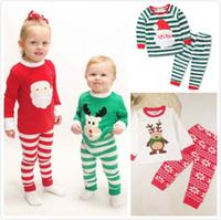 Wholesale Sleep Wear Girls - 2017 Christmas Pajamas Sleepwear Outfits Boys Girls Xmas Night Wear Clothing Suits Pre School Cotton Long Pajamas Sleep Clothing Sets