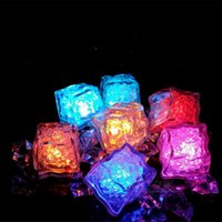Wholesale Led Bar Ice Cubes - Multi LED Color Changing Flash Light Ice Crystal Cube for Party Wedding Event Bars Chirstmas Multi Color