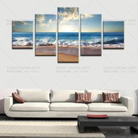 Wholesale Large Framed Oil Painting Canvas - 5 Panels(No Frame)Large Abstract Art Blue sea water Picture Modern Wall Decor Print on Canvas Oil Painting Canvas Painting