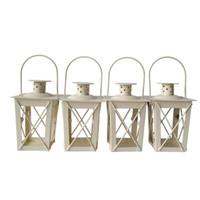 şamdanlık feneri toptan satış-Ucuz klasik stil Çay Işık Tutucu Metal mumluk Küçük Demir fener Beyaz Renk şamdan sahipleri hediye Düğün dekorasyon