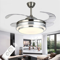 Wholesale pvc bulb online - Ultra Quiet Ceiling Fans V Invisible Blades Ceiling Fans inch Modern Fan Lamp Living Room European Ceiling Light
