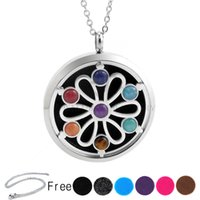 Wholesale Chakra Oils - With Free Chains! New Arrivals Flower Chakra Lockets (38mm) Aromatherapy   Stainless Steel Essential Oils Diffuser Locket Necklace