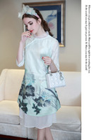 Wholesale New Elegant Cheongsam - 2016 summer new women's heavy water ink printing improved cheongsam skirt elegant retro cotton and pullover dress Hot Sale