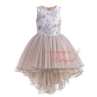 Wholesale knee high dress tulle online - Pettigirl Summer Girl Prom Dress Elegant Floral Embroidery Sleeveless High Waist Layered Tulle Champagne Asymmetrical Dresses G DMGD908