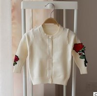 Wholesale Newborn Chinese Clothing - Kids sweaters baby girls long sleeve embroidery Cardigan cute toddler kids Single-breasted sweater 2017 newborn Autumn clothing G0308