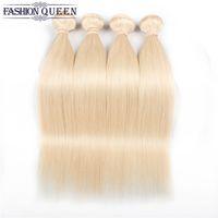 sarışın saç telleri toptan satış-Brezilyalı Olmayan Remy Düz Sarışın 4 Paketler% 100% İnsan Saç Dokuma Paketler Brezilyalı Sarışın # 613 Düz% 100% İnsan Saç Dokuma