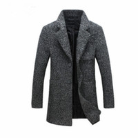 Button Up Collar overcoats mens - New Fashion Long Trench Coat Men Winter Mens Overcoat Wool Thick Trench Coat Male Jacket