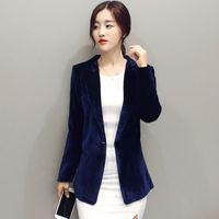 Wholesale Graceful Women Coats - 2017 Women Velvet Blazer Women Jackets & Blazers Blue Elegant Jackets Women Blazer Coat Slim Coat Casual Graceful Female Suit