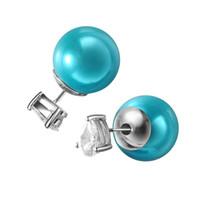 Wholesale Pear Zirconia Earrings - KIVN Fashion Jewelry Pear Drop 6X8mm CZ Cubic Zirconia stud Double Sided Simulated Pearl Earrings for Women