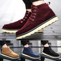 Wholesale Style Leather Mens Boot - Man Warm Suede Leather Martin Ankle Boots For Men England Style Male Snow Boots Thicken Plush Mens Winter Boots