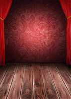 Wholesale damask photography background - Red Curtains Stage Photography Backdrops Vintage Brown Wooden Planks Floor Burgundy Damask Wall Children Kids Studio Photo Booth Background