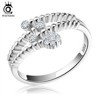 Wholesale Wholesale Sterling Silver Wave Ring - Orsa Jewerly New Arrived Genuine 925 Silver Rings Wave Design Adjustable Finger Rings For Women SR03