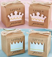 Wholesale Crown Shower Favors - Little Prince or Princess kraft paper Crown Favor Candy Boxes Bag Baby Shower Christening Birthday Favors Bonbonniere Gift Wrap Boxes