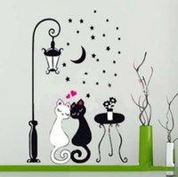 etiqueta do papel de parede do projeto do gato venda por atacado-Wall Sticker Cat Crianças Boy Quarto Crianças Wallpaper Decoração quarto Art Corredor Mural PVC menina decorativa