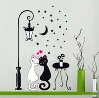 Wholesale cat design wallpaper sticker for sale - Group buy Wall Sticker Cat Kids Boy Bedroom Children Wallpaper Home Decoration Art Room Hallway Mural PVC Decorative Girl