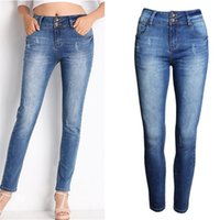 Women bleaching polyester - New Arrivals Scratched Women Jeans European Fashion Mid Waist Skinny Denim Pants Plus Size Female Casual Pencil Pants