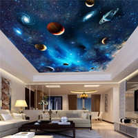 3d wand decke wandbilder tapete großhandel-Benutzerdefinierte 3D Space Wandbild Tapete Astronomische Galaxy Planet Landschaft Decke Hintergrund Dekor Tapeten Wohnzimmer Wandmalereien