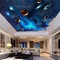 ingrosso carta da parati di murales del soffitto del muro 3d-Personalizzato 3D Spazio murale Carta da parati Astronomical Galaxy Planet Paesaggio Soffitto Sfondo Decor parete carta Soggiorno murales