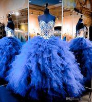 vestido azul real de adolescente al por mayor-En línea Royal Blue Ball vestido de quinceañera con volantes en cascada Tulle Sweetheart Girls Pageant Vestidos para adolescentes en capas vestido de fiesta