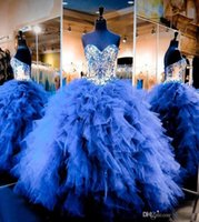 Wholesale Online Sexy Girls - Online Royal Blue Ball Gown Quinceanera Dresses With Cascading Ruffles Tulle Sweetheart Girls Pageant Dresses For Teens Layered Prom Dress
