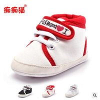 Wholesale Toddler White Canvas Shoes Wholesale - Baby Shoes Love MaMa PaPa Kids Boy Girl Shoes Non-slip Infant Toddler Newborn First Walkers Soft Sole Shoes For 0-18M