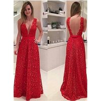 Wholesale Vestidos Renda Sexy - Country Lace Prom Dresses Deep V-neck A-line Red Floor Length Special Occasion Party Gowns Open Back Vestidos De Renda