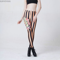Wholesale tattooed leggings - Wholesale- Xxxl Leggings Animal Print Capris Stripe Hot Women Sexy Tattoo Leg Party Dancer Punk Pants Skinny Clubwear Legging Trousers 4XL