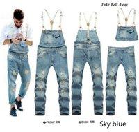 Wholesale Winter Jeans Suspender Pants - Wholesale-2016 New Brand Autumn Winter Casual Solid Color Denim Jumpsuits Male Jeans Overalls Casual Suspenders Trousers Pants