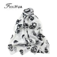 Wholesale Colorful Skull Scarf - Wholesale- Girl's Fashion New Coming Colorful Skull Pattern Noble Ladies Multipurpose Silk Antique Style Scarf Shawl