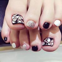 Wholesale Fake Nails Toes - 24pcs black and white a piece of fake toe pieces fashionable convenience women nail False Nails