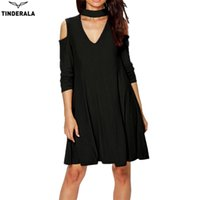 Wholesale Sexy Cotton Night Gown - TINDERALA Women Sexy Dress 2017 Spring Summer Vestido Fashion Casual Classic V Neck Off Shoulder Long Sleeve Loose Dress