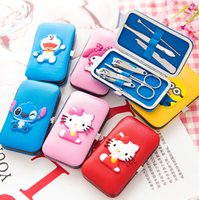 Wholesale Nail Cartoon Character - Wholesale- Cute Cartoon Characters Box Packed 6 in 1 Manicure Set Nail Care Tools Finger Nail Cutter Clipper File Scissor Tweezers GYH