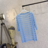 3cf7848c029 Wholesale- Women Casual Summer Beach Striped Cardigan Fashion Knitted  Spring Sweater Mujer Crochet Ladies Tops Gilet Manche Longue Femme