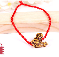 Wholesale Rooster Set - Wholesale- Tibetan Bone Red Rope Animal Bracelet Cock Rooster zodiac signs Buddhism Bracelet