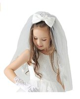 Wholesale Headband Communion - Princess 2017 Newest White First Communion Children Stock Embroidered Accessories Headband Veil Bow Flower Girl Veil Kid Party Veil