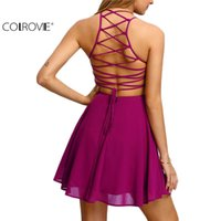 robes patineuses roses achat en gros de-COLROVIE Hot Rose Croix Lace Up Backless Spaghetti Strap court patineuse femmes Robe une ligne sans manches Mini Dress 17309