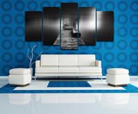 "Wholesale Canvas Pier - Wooden Pier Bridge LARGE 60""x32"" 5Panels Art Canvas Print for Wall Modern Home Decor interior (No Frame)"